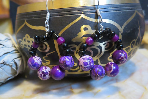 Purple Jasper Black Glass Hoop (14) - Earrings : French Hook Dangles