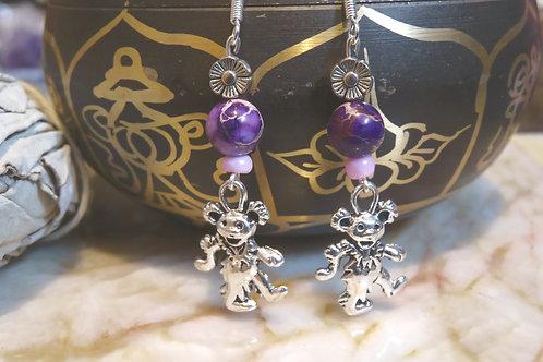 Purple Jasper Dancing Bear (4) - Earrings : French Hook Dangles