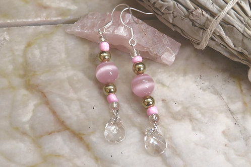 Cats Eye Pink Glass Crystal Peacock (8) - Earrings : French Hook Dangles