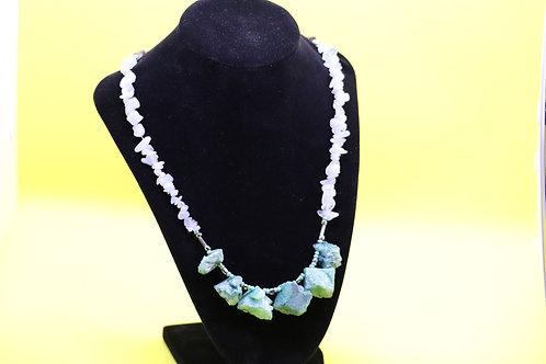 Mint Druzy Agate Chunk Aquamarine & Smokey Quartz Crystal (174)- Beaded Necklace