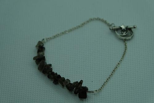 Smoky Quartz Silver Chain (23) - Bracelet : Beaded
