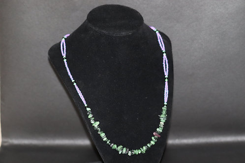 Ruby Zoisite Chip Aqua Purple (480) - Necklace : Beaded