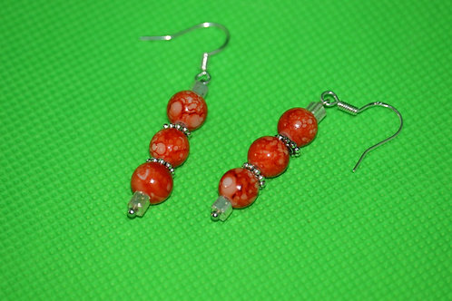 Orange Swirl Silver Glass (7) - Earrings : French Hook Dangles