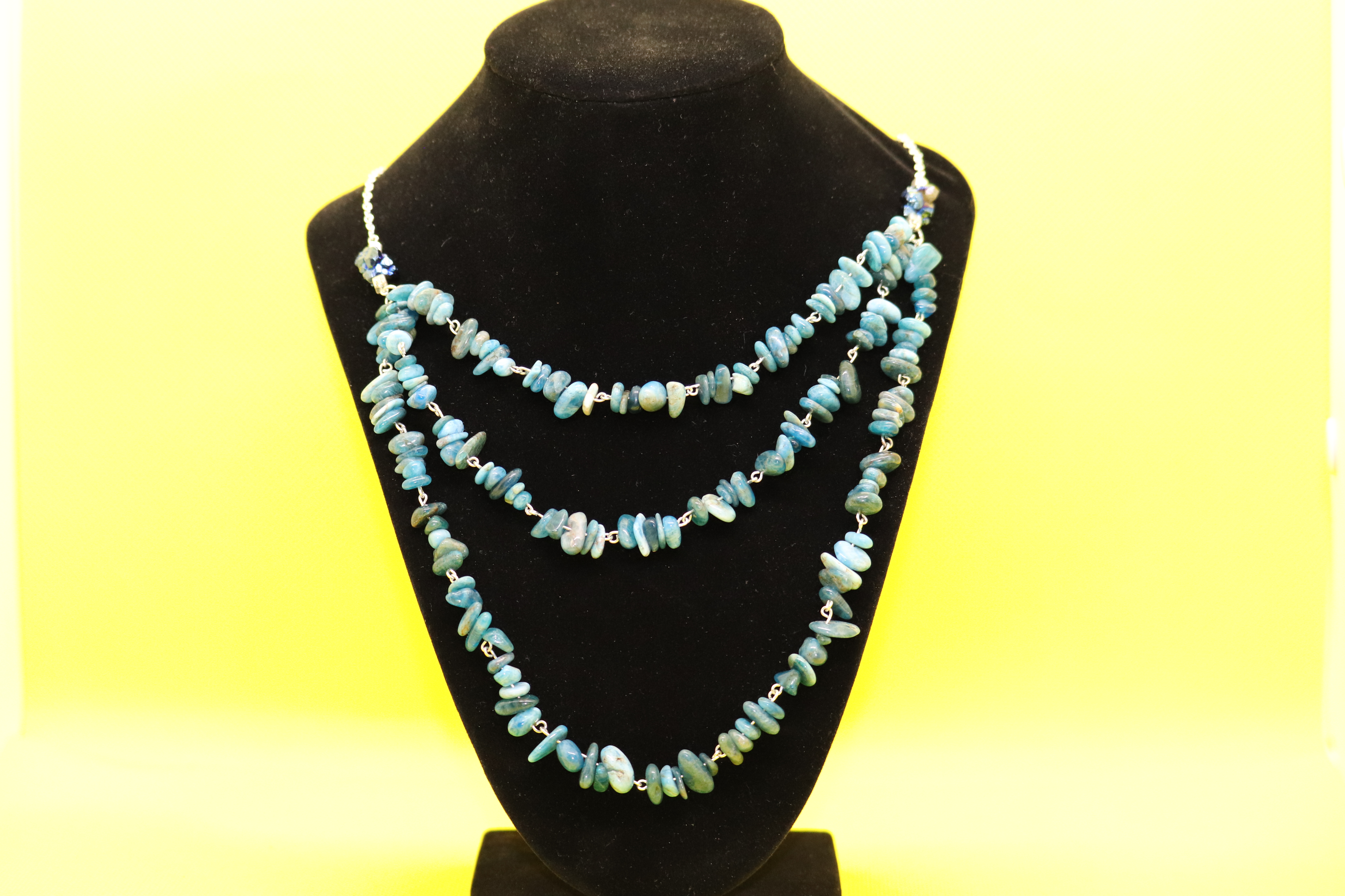 Blue Apatite Blue Chalcopyrite Nugget (176) - 3 Strand Necklace : Beaded