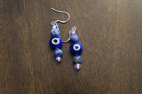 Evil Eye Sodalite Pink Glass (5) - Earrings : French Hook Dangles