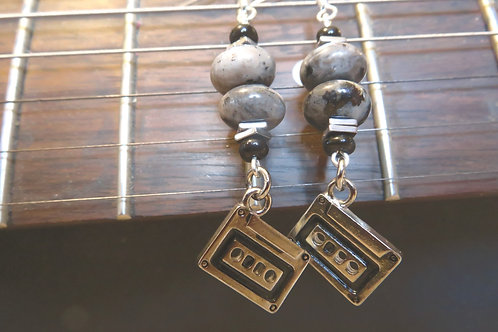 Larvikite Stone Hematite Square Cassette Tape (9) - Earrings : French Hook