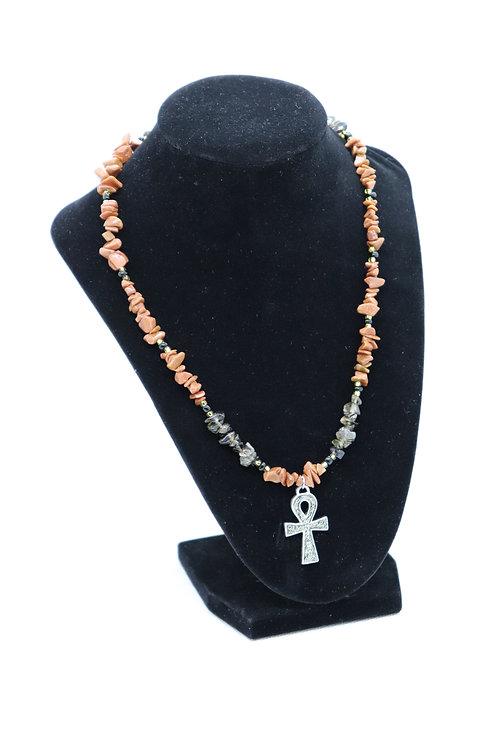 Goldstone Smoky Quartz Ankh (178) - Necklace : Beaded