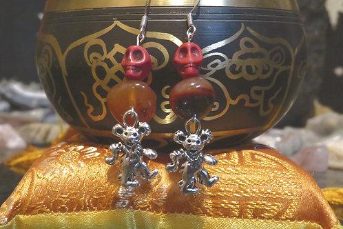 Orange Dyed Carnelian Nugget Dancing Bear Skull (3) - Earrings : French Hook