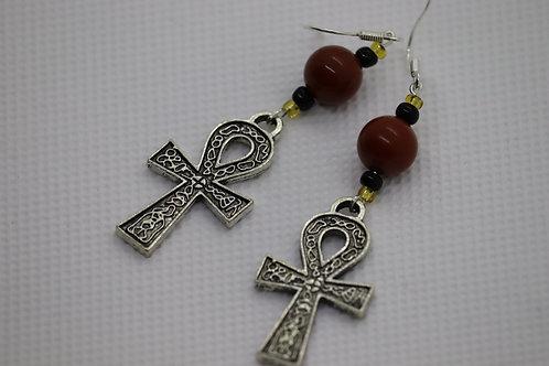 Red Jasper Ankh (6) - Earrings : French Hook Dangles