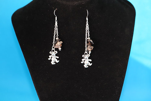 Smoky Quartz Silver Chain Dancing Bear (6) - Earrings : French Hook Dangles