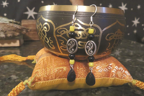 Rockstar Black Peacock Yellow Glass Oval (6) - Earrings