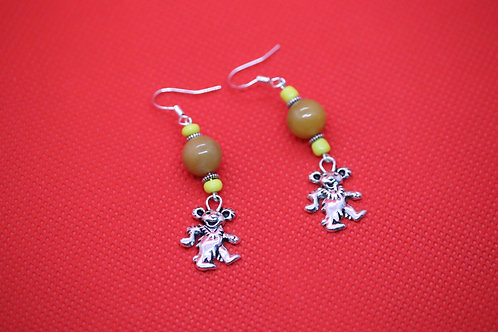 Orange Carnelian Yellow Glass Dancing Bear (6) - Earrings : French Hook Dangles
