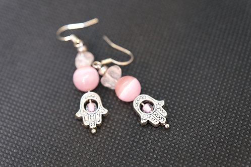 Cats Eye Pink Glass Rose Quartz (5) - Earrings : French Hook Dangles