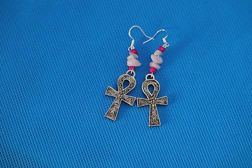 Kunzite Chip Ankh (6) - Earrings : French Hook Dangles