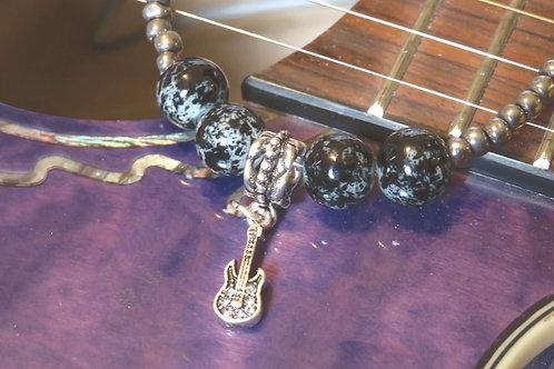 Silver Iris Black Glass Musical (49) - Charm Bracelet : Beaded