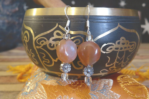 Orange Dyed Carnelian Nugget (4) - Earrings : French Hook Dangles