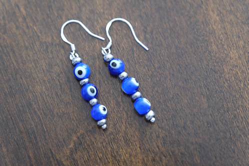 Evil Eye Silver Glass (7) - Earrings : French Hook Dangles