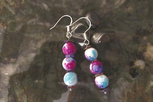 Water Color Hematite Hexagon (7) - Earrings : French Hook Dangles