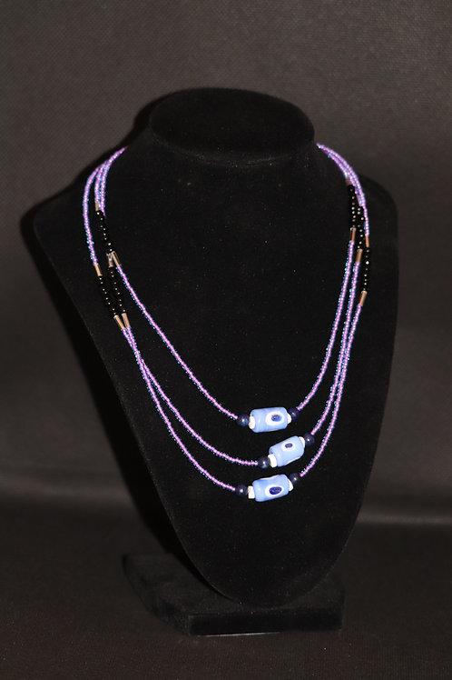 Evil Eye Lapis Lazuli Aqua Purple Glass (805) - Long Opera Necklace : Beaded