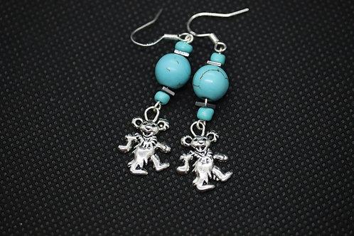 Turquoise Dyed Howlite Hematite Dancing Bear (6) - Earrings : French Hook Dangle