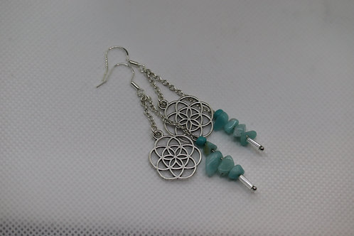 Amazonite Chip Seed Of Life Silver Chain (7) - Earrings : French Hook Dangles