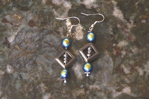 Black Faceted Glass Hematite Square & Diamond (8) - Earrings : French Hook Dangl