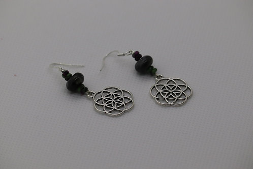 Seed Of Life Larvikite Ruby Zoisite (6) - Earrings : French Hook Dangles