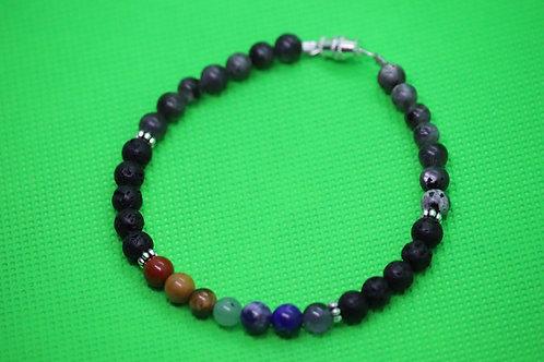 Black Lava Rock Larvikite Chakra (35) - Diffuser Bracelet : Beaded