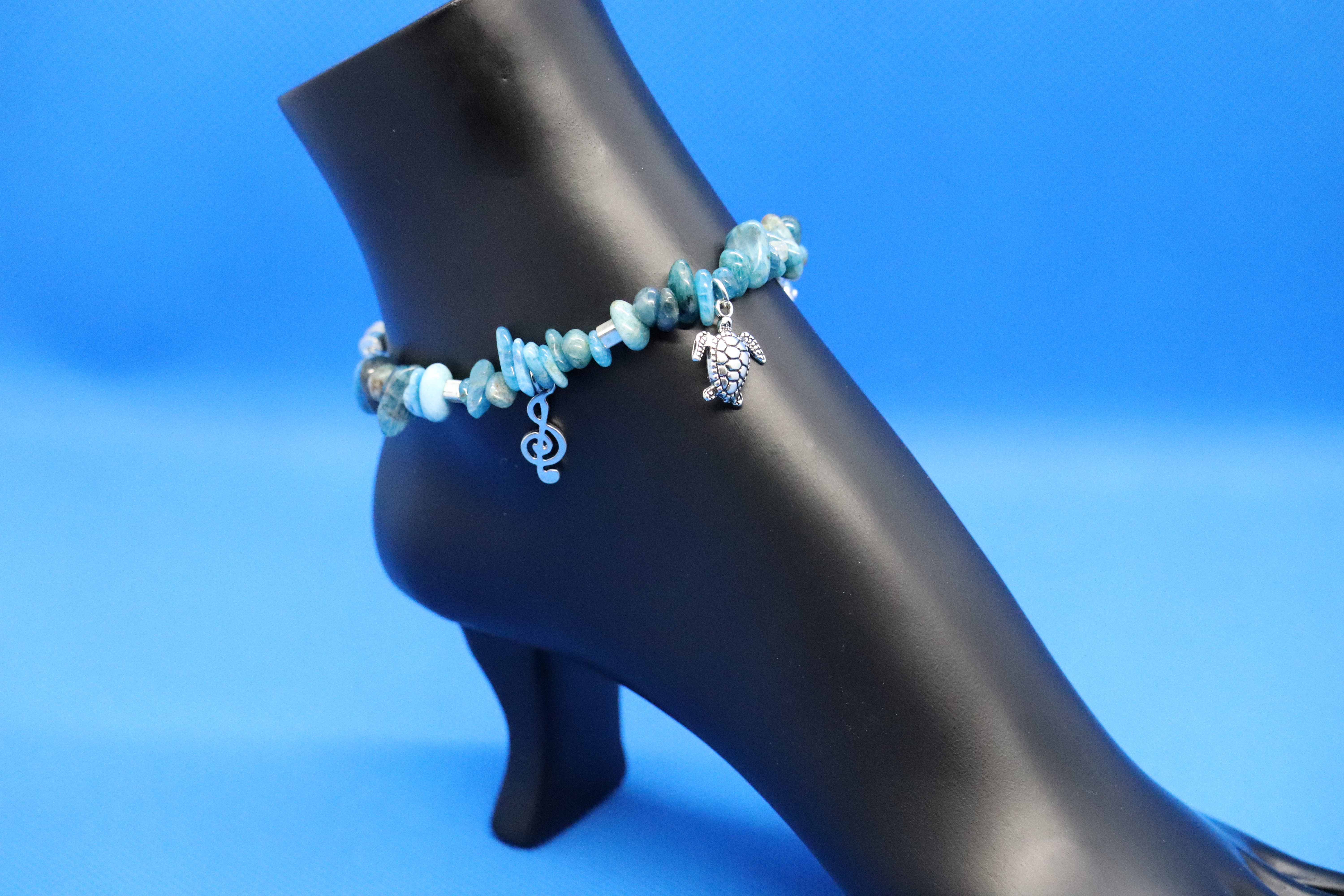Blue Apatite Grateful Dead Dancing Bear (66) - Anklet / Ankle Bracelet : Beaded