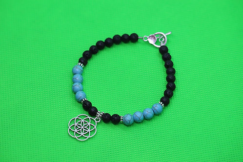 Black Lava Rock Turquoise Howlite Seed Of Life (35) - Diffuser Charm Bracelet :
