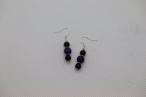 Black Tourmaline Purple Dyed Agate (5) - Earrings : French Hook Dangles