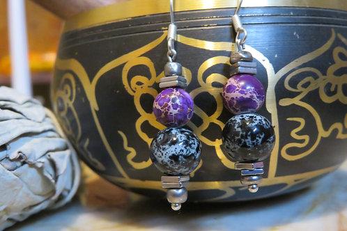 Purple Jasper Hematite Square Black & Silver Glass (8) - Earrings : French Hook