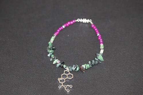 Ruby Zoisite Chip LSD Molecule (65) - Charm Bracelet : Beaded