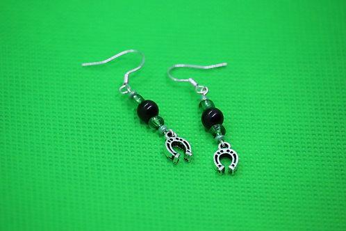 Black Tourmaline Horseshoe (6) - Earrings : French Hook Dangles