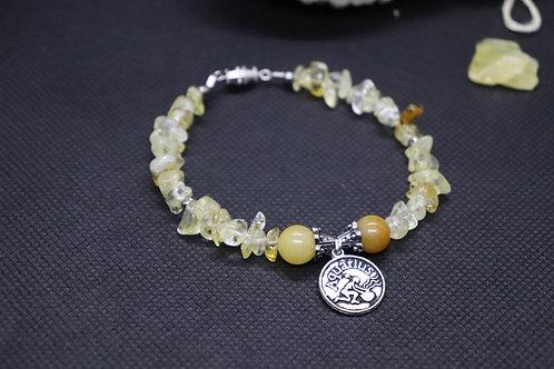 Citrine Chip Silver Glass Aquarius Zodiac (51) - Charm Bracelet : Beaded