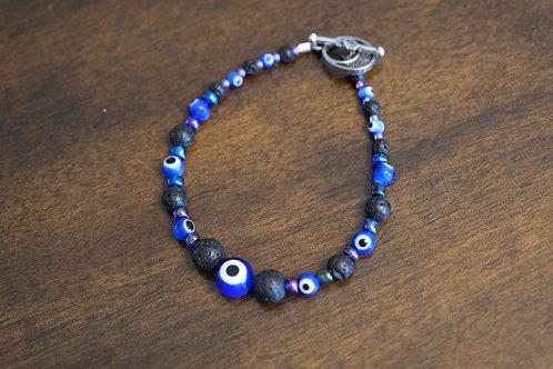 Black Lava Rock Evil Eye Multicolor Glass (45) - Bracelet : Beaded