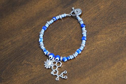 Evil Eye LSD Molecule Blue Glass (56) - Charm Bracelet : Beaded