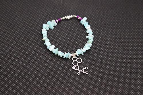 Amazonite Chip LSD Molecule (61) - Charm Bracelet : Beaded