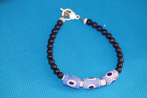 Lapis Lazuli Evil Eye White River Shell(37) - Anklet / Ankle Bracelet : Beaded