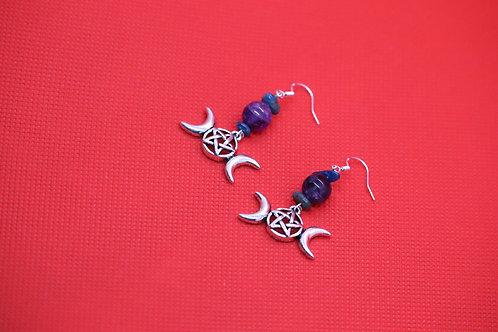 Amethyst Blue Apatite Triple Moon (4) - Earrings : French Hook Dangles