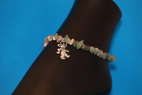 Green Aventurine Rhodochrosite Chip Dancing Bear (74) - Anklet / Ankle Bracelet
