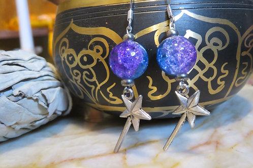 Purple & Blue Glass Magic Wand (4) - Earrings : French Hook Dangles