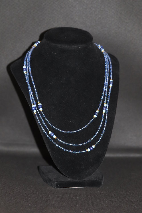 Lapis Lazuli Blue & Gold Glass (840) - Extra Long Necklace : Beaded