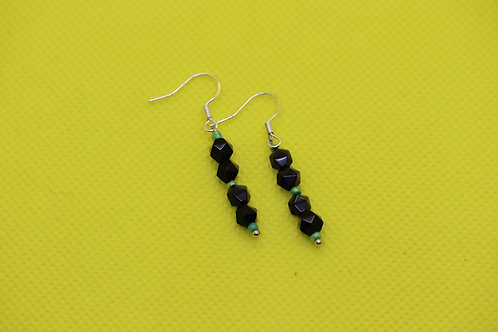 Black Onyx Green Glass (7) - Earrings : French Hook Dangles
