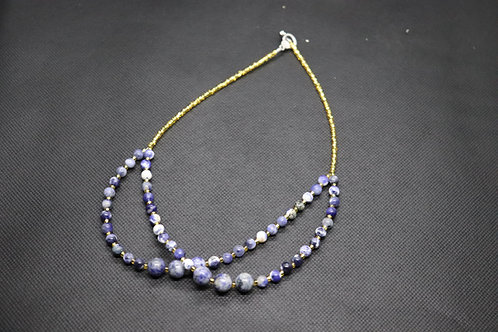 Sodalite Stone Gold Glass (230) - Necklace : Beaded