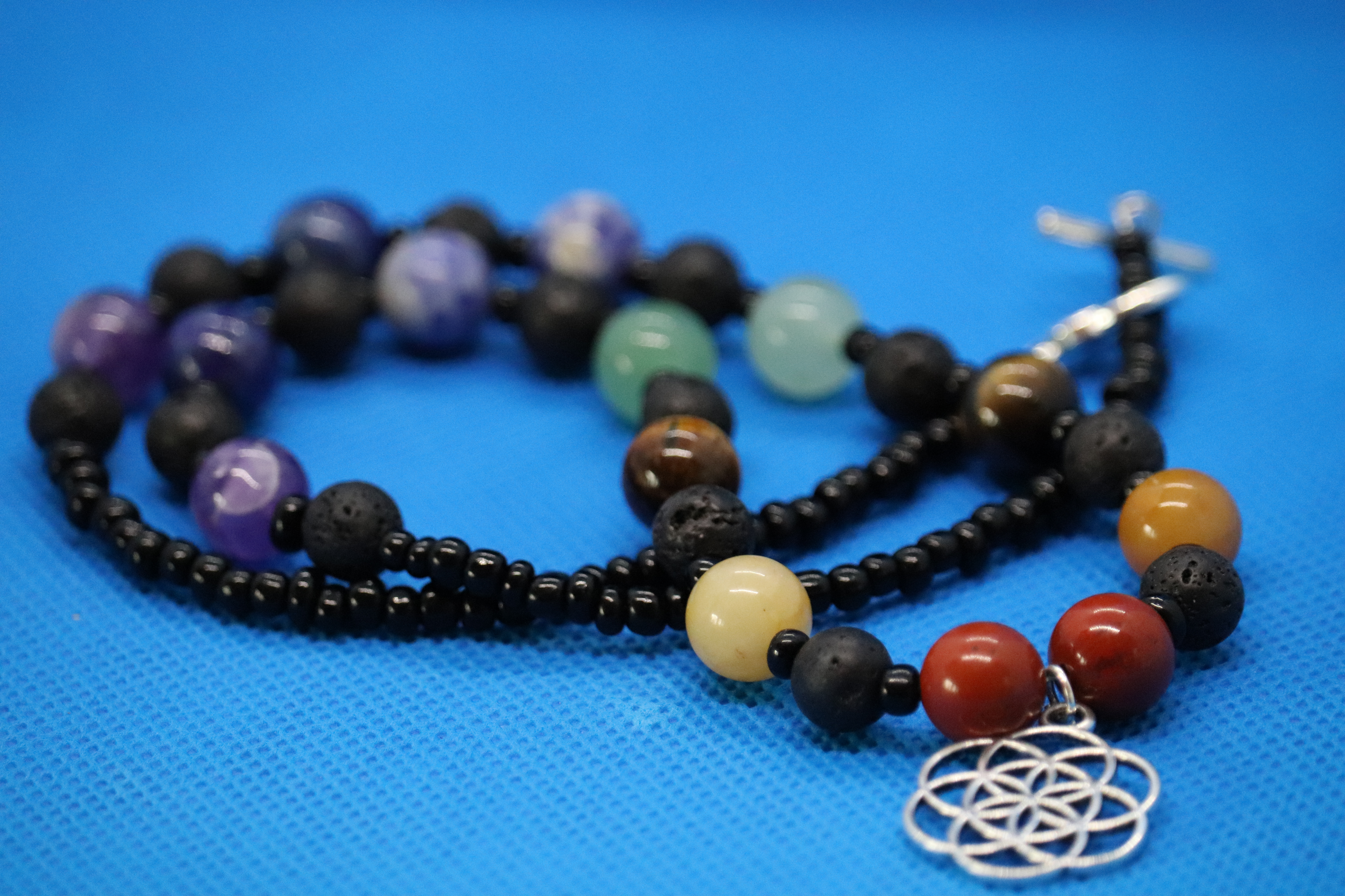 Black Lava Chakra Seed Of Life (127) - Necklace : Beaded