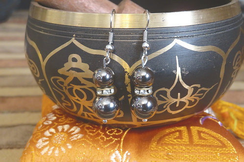 Rockstar Gray Glamour (3) - Earrings : French Hook Dangles