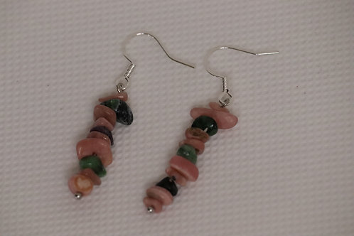 Rhodochrosite Ruby Zoisite Chip (11) - Earrings : French Hook Dangles