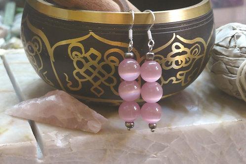 Cats Eye Pink & Silver Glass (5) - Earrings : French Hook Dangles