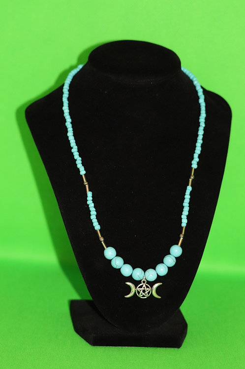Turquoise Dyed Howlite Turquoise Glass Triple Moon (127) - Necklace : Beaded
